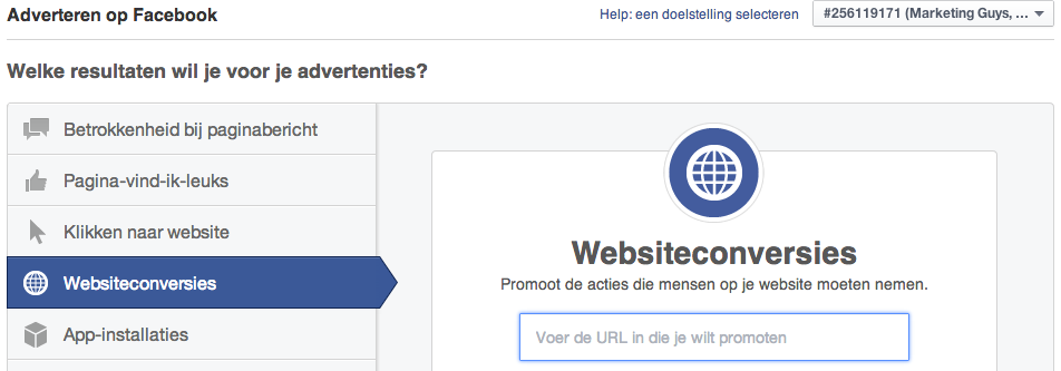 facebook websiteconversie