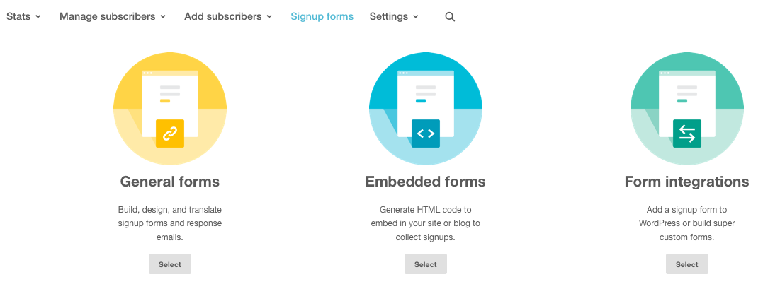 Signup Forms MailChimp