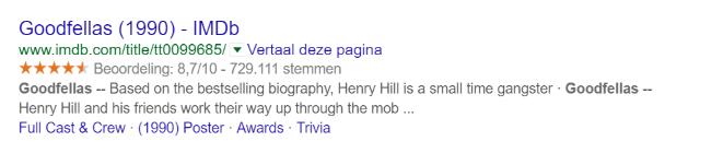 Voorbeeld van Rich Snippets op IMDb