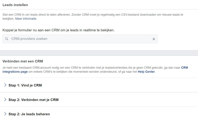 Facebook CRM koppelen