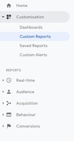 custom report menu