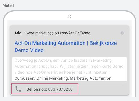 Oproepextensie Google Ads